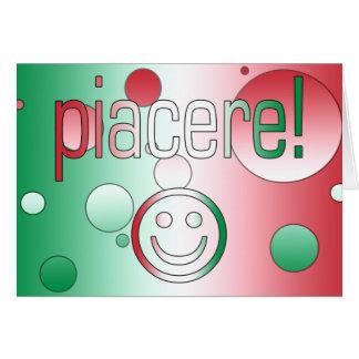 ¡Piacere! La bandera de Italia colorea arte pop Tarjeta De Felicitación