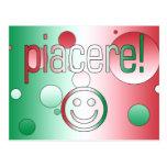 ¡Piacere! La bandera de Italia colorea arte pop Postal