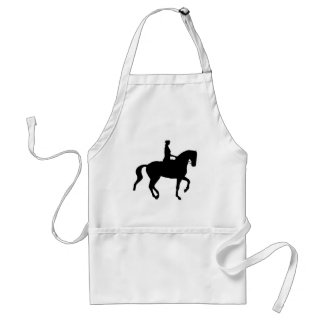 Piaffe Dressage Horse and Rider (black) Adult Apron