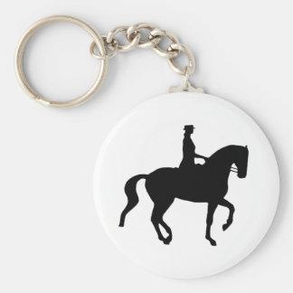 Piaffe Dressage Horse and Rider (black) Basic Round Button Keychain