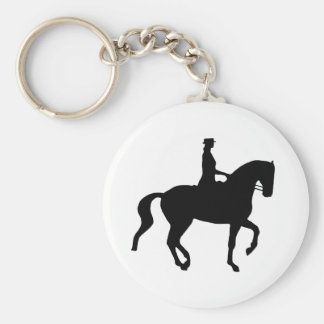 Piaffe Dressage Horse and Rider (black) Keychain