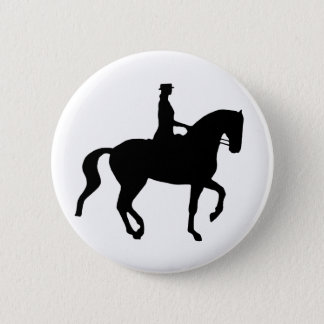Piaffe Dressage Horse and Rider (black) Pinback Button