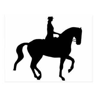 Piaffe Dressage Horse and Rider black Post Cards