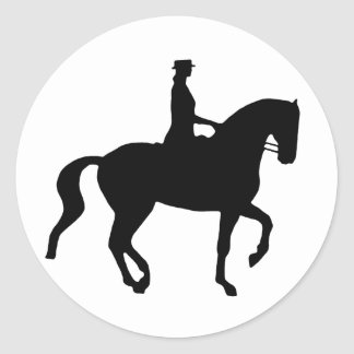 Piaffe Dressage Horse and Rider (black) Round Stickers