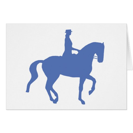 Piaffe Dressage Horse and Rider (blue) Card