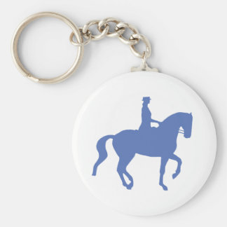 Piaffe Dressage Horse and Rider (blue) Keychain