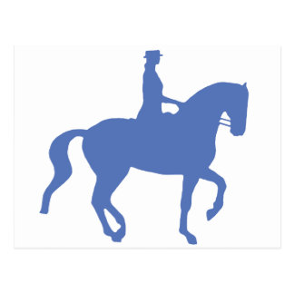 Piaffe Dressage Horse and Rider blue Post Cards