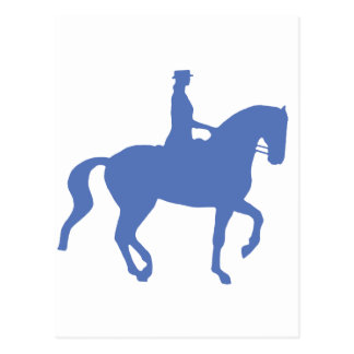 Piaffe Dressage Horse and Rider (blue) Postcard