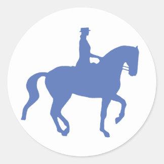 Piaffe Dressage Horse and Rider (blue) Round Sticker