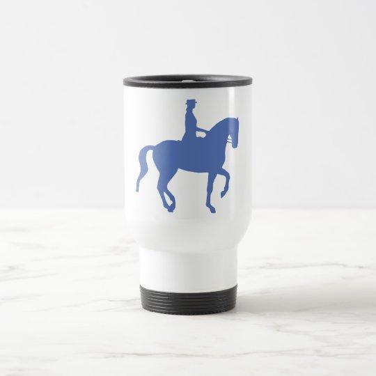 Piaffe Dressage Horse and Rider (blue) Travel Mug