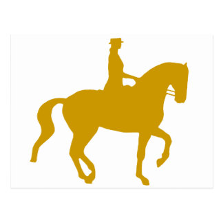 Piaffe Dressage Horse and Rider gold Post Cards