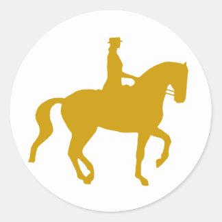 Piaffe Dressage Horse and Rider (gold) Classic Round Sticker