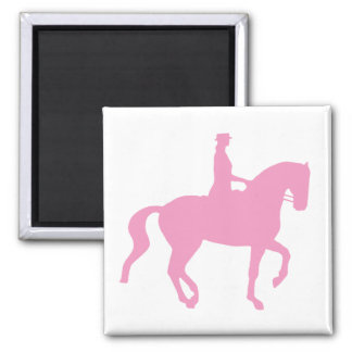 Piaffe Dressage Horse and Rider (pink) 2 Inch Square Magnet
