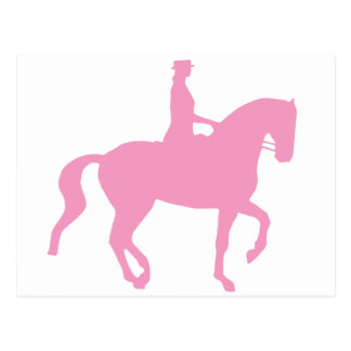 Piaffe Dressage Horse and Rider pink Post Card