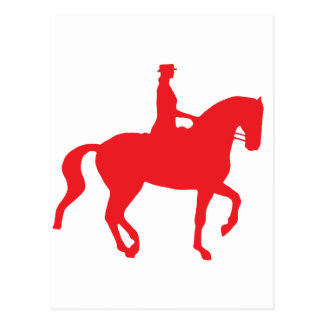 Piaffe Dressage Horse and Rider (red) Postcard