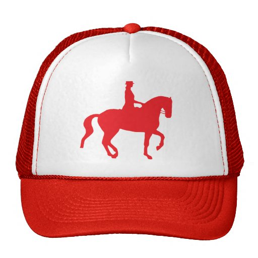 Piaffe Dressage Horse and Rider (red) Trucker Hat