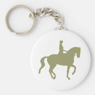 Piaffe Dressage Horse and Rider (sage green) Keychain