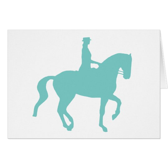 Piaffe Dressage Horse and Rider (teal) Card