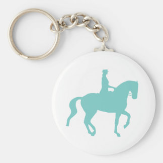 Piaffe Dressage Horse and Rider (teal) Basic Round Button Keychain