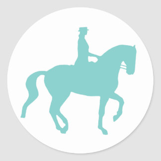 Piaffe Dressage Horse and Rider (teal) Classic Round Sticker
