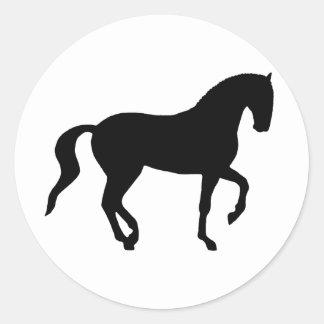 Piaffe Horse (black) Classic Round Sticker