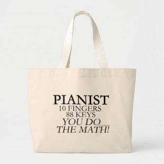 Pianist 10 Fingers 88 Keys Large Tote Bag