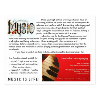 pianist/accompanist postcard