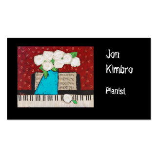 pianist business card with flowers and keyboard