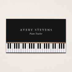 Pianist Elegant And Simple Black Piano Keys Business Card at Zazzle