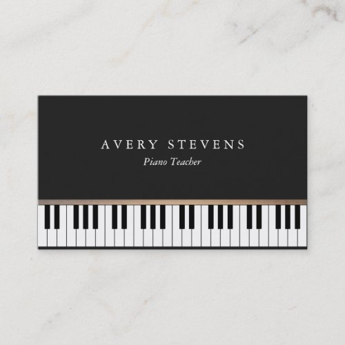 Pianist Elegant and Simple Black Piano Keys Business Card