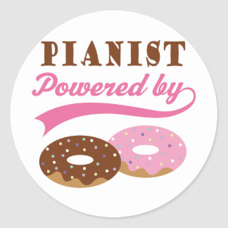 Pianist Gift (Donuts) Round Stickers