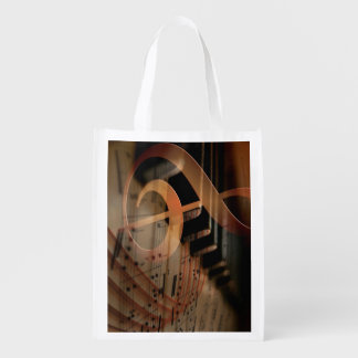 Pianist Gifts, Piano Keys music notes Grocery Bag