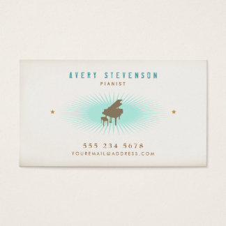 Pianist Hip Retro Style Typography Turquoise Burst Business Card