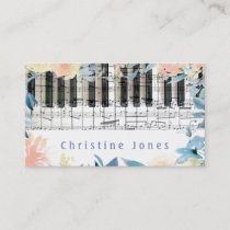 pianist keyboard and watercolor flowers border business card