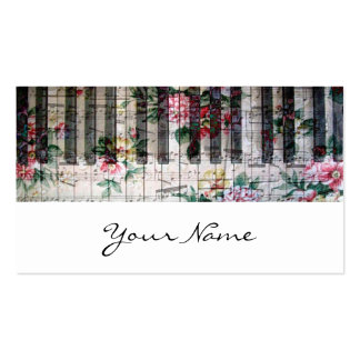 pianist keyboard girly vintage music profile card business card templates