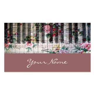 pianist keyboard girly vintage music profile card Double-Sided standard business cards (Pack of 100)