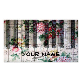 pianist keyboard piano vintage girly music business cards