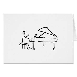 Pianist musician plays piano piano wing card