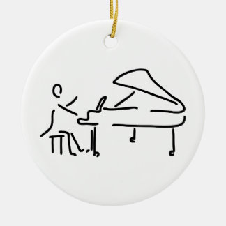 Pianist musician plays piano piano wing ceramic ornament