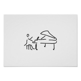 Pianist musician plays piano piano wing poster