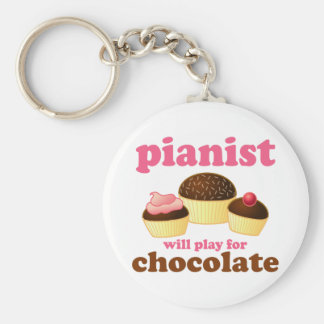 Pianist Will Play for Chocolate Basic Round Button Keychain