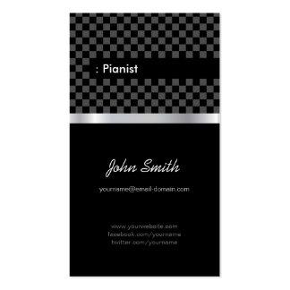 Pianista - a cuadros negro elegante tarjetas de visita