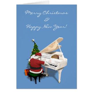 Pianista de Papá Noel Tarjeta De Felicitación