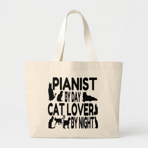 Pianista del amante del gato bolsa tela grande