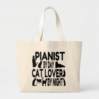 Pianista del amante del gato bolsas lienzo