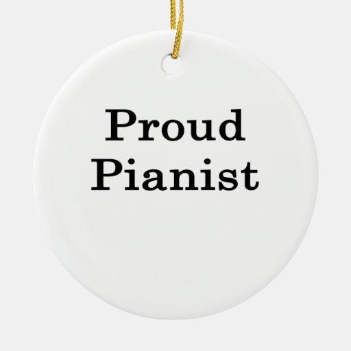 Pianista orgulloso adorno navideño redondo de cerámica