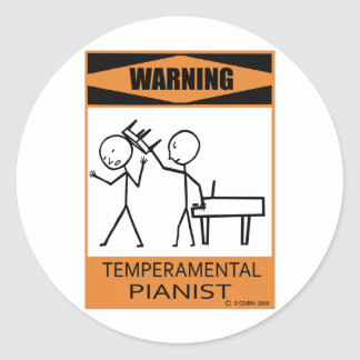 Pianista temperamental amonestador pegatina redonda