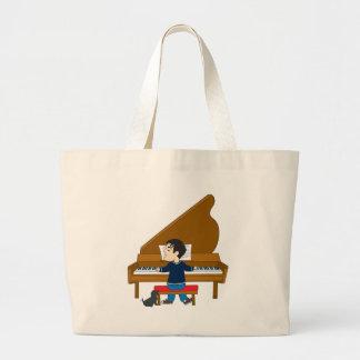 Pianista y perro bolsa de tela grande