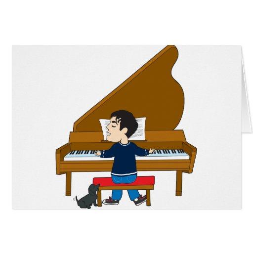 Pianista y perro felicitaciones