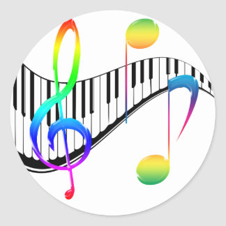 Piano 02 pegatina redonda